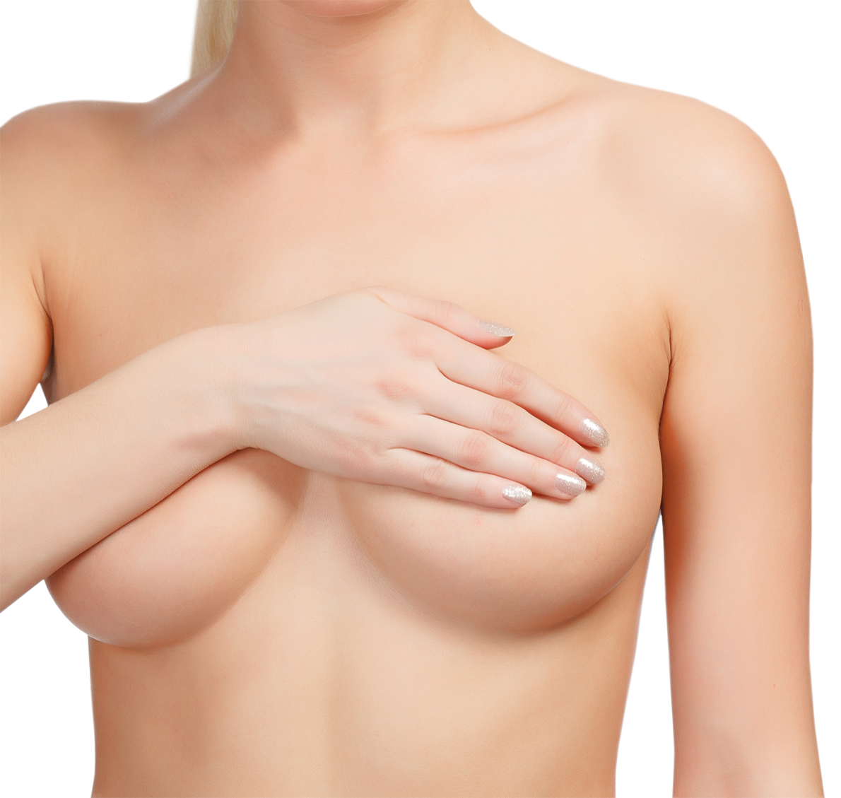 Torso of naked woman covering her breasts.