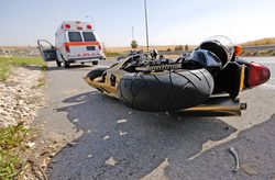 A serious motorcycle accident on the road