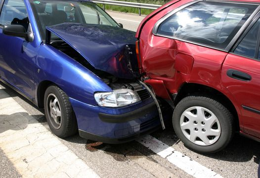 Two cars involved in a rear-end accident
