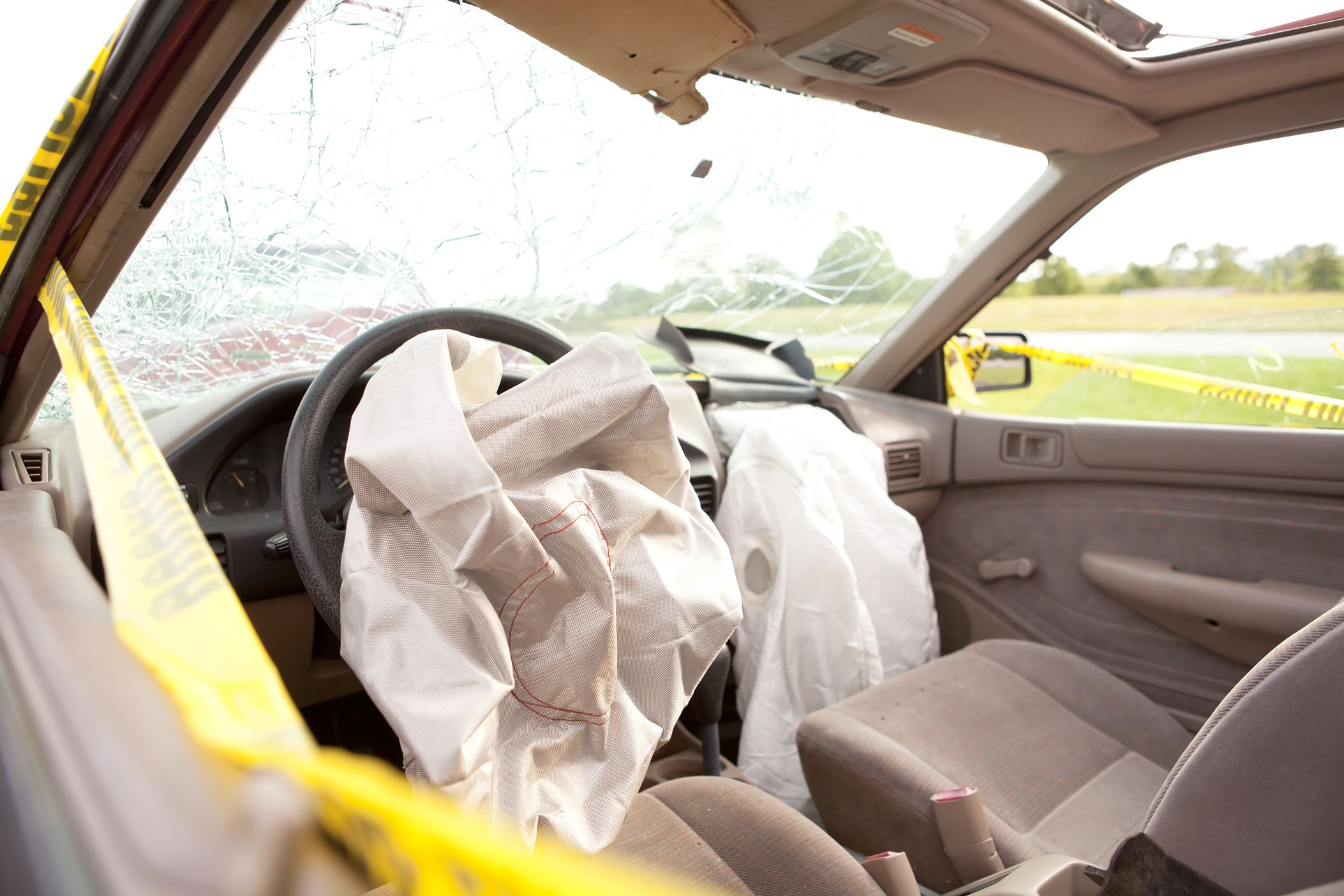 Airbags deployed after an auto accident