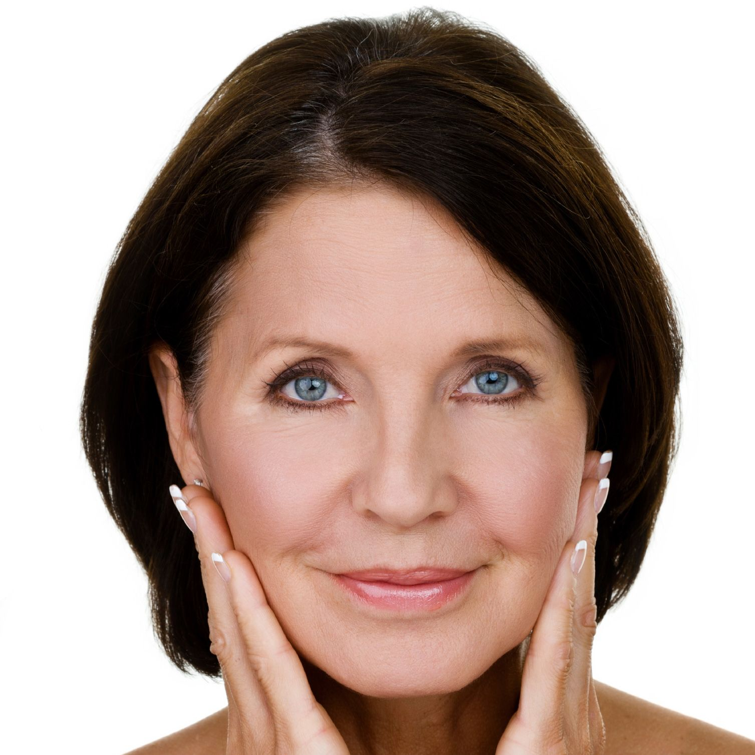A woman pulling up the skin with her hands to reduce the appearance of her jowls
