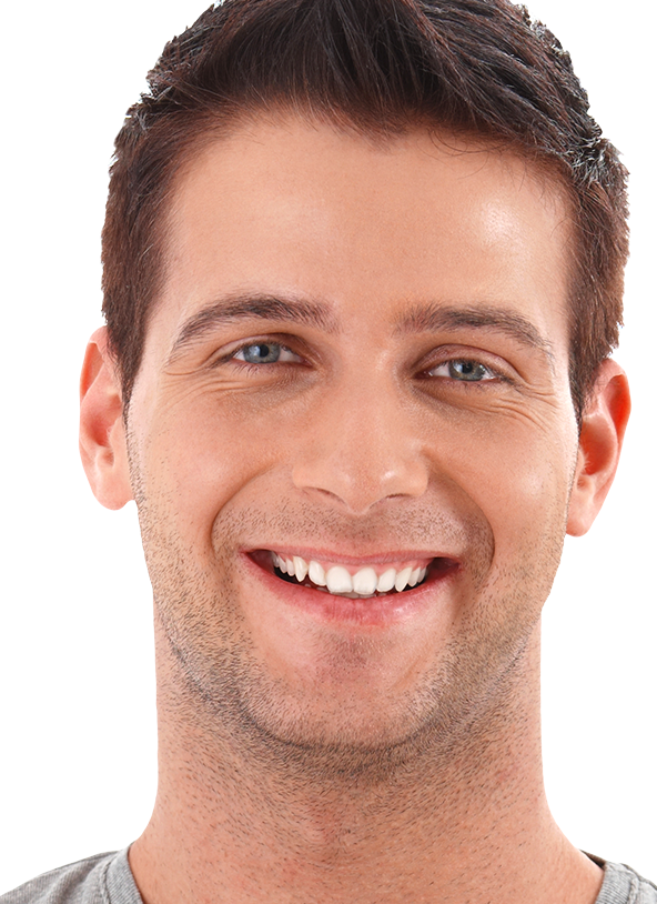 Portrait of handsome smiling young man against plain white background