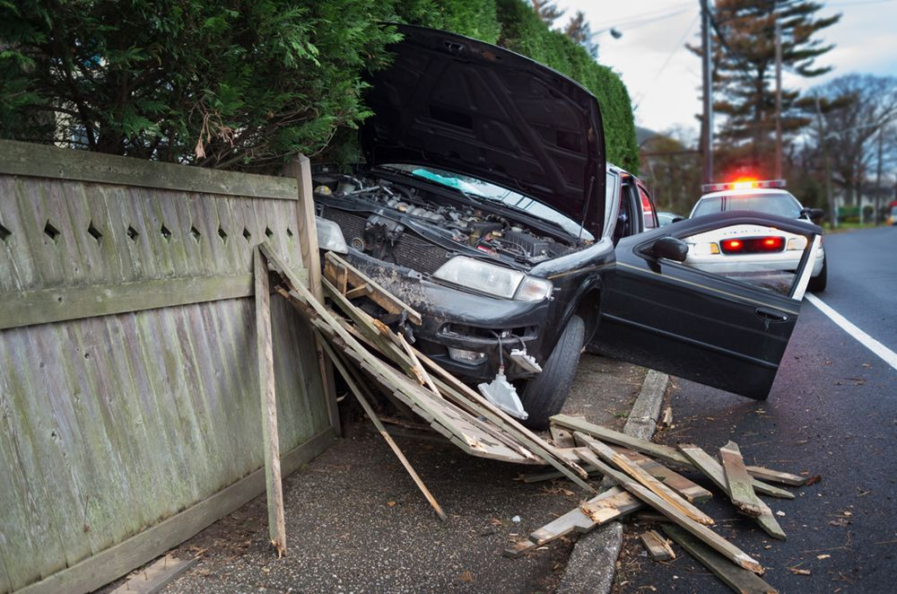 Wrecked car on lane divider