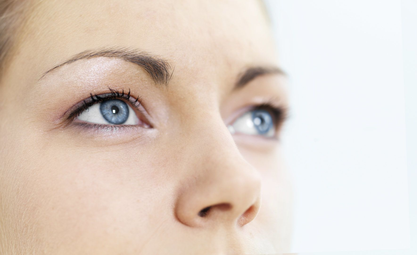 Up close photo of woman's blue eyes