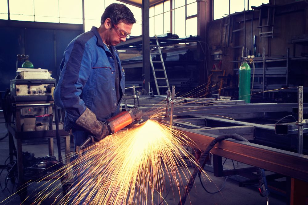 Working with power tools that create sparks