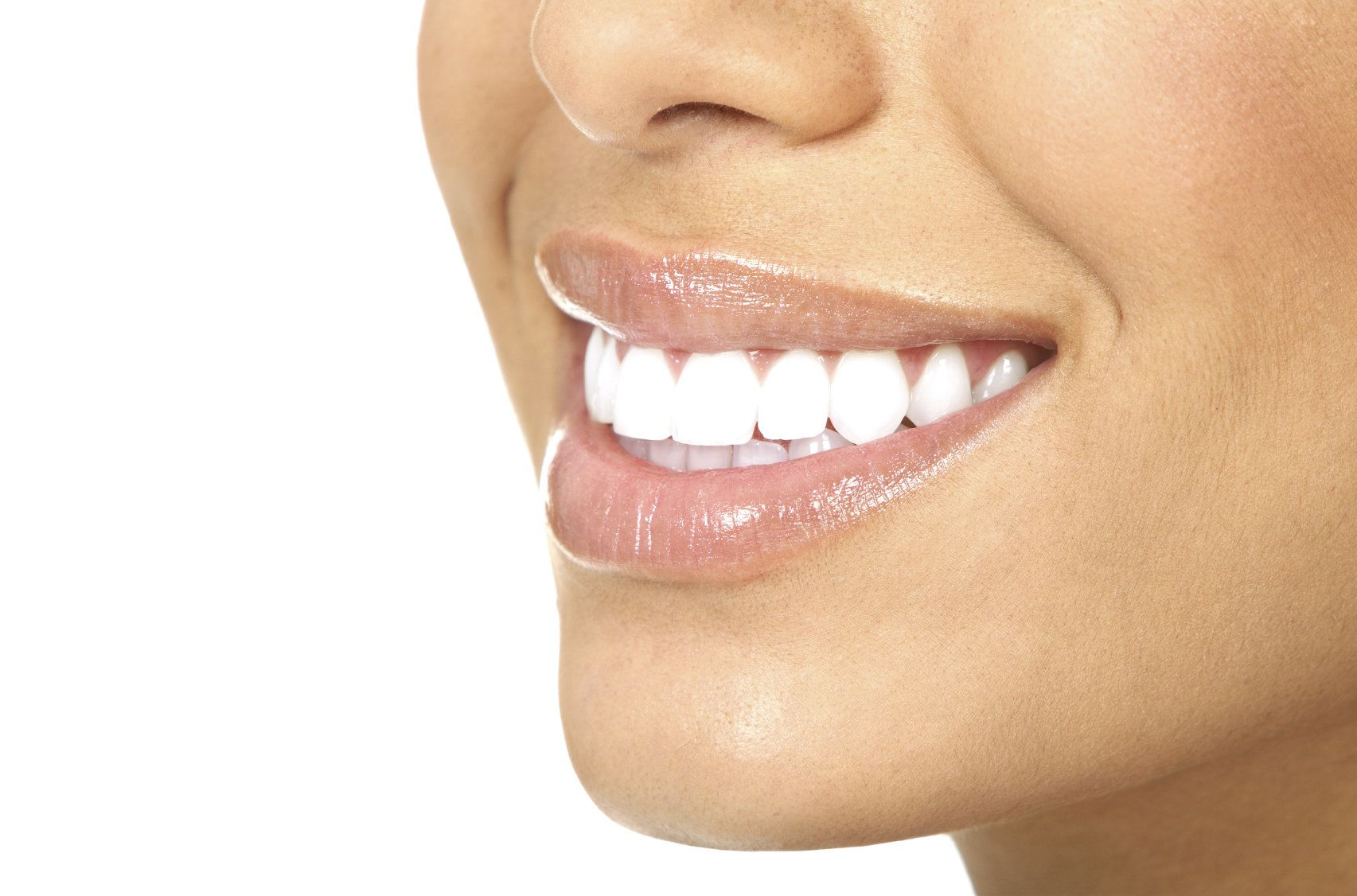 Patient with bright, white teeth