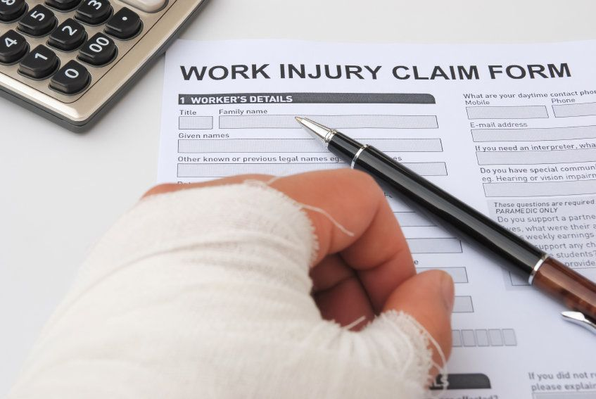Filling out a work injury claim form
