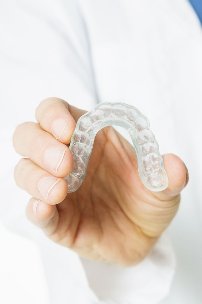 A mouth guard to be worn at night for teeth grinding (bruxism)