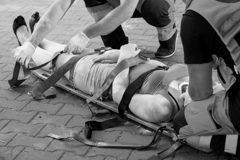 Injury victim on a stretcher