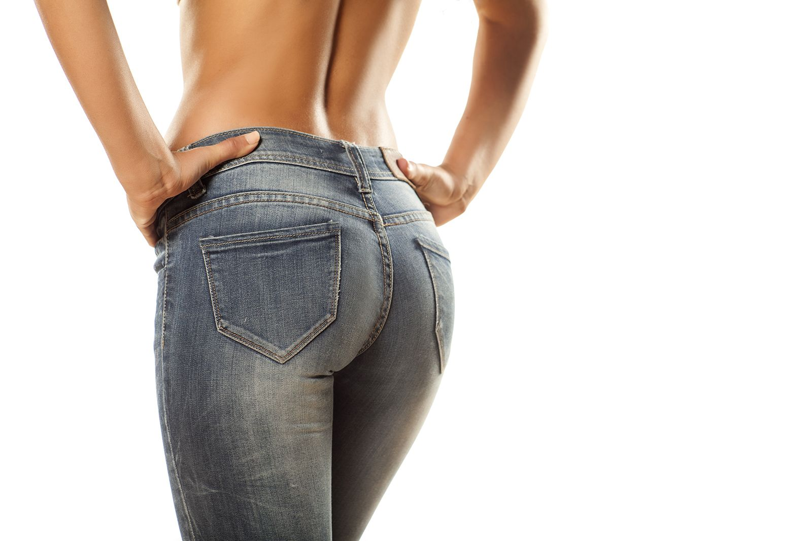 A woman's backside in tight jeans