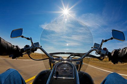 Driver's view from motorcycle
