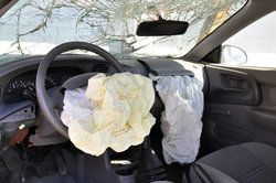 Deployed airbags after an auto accident