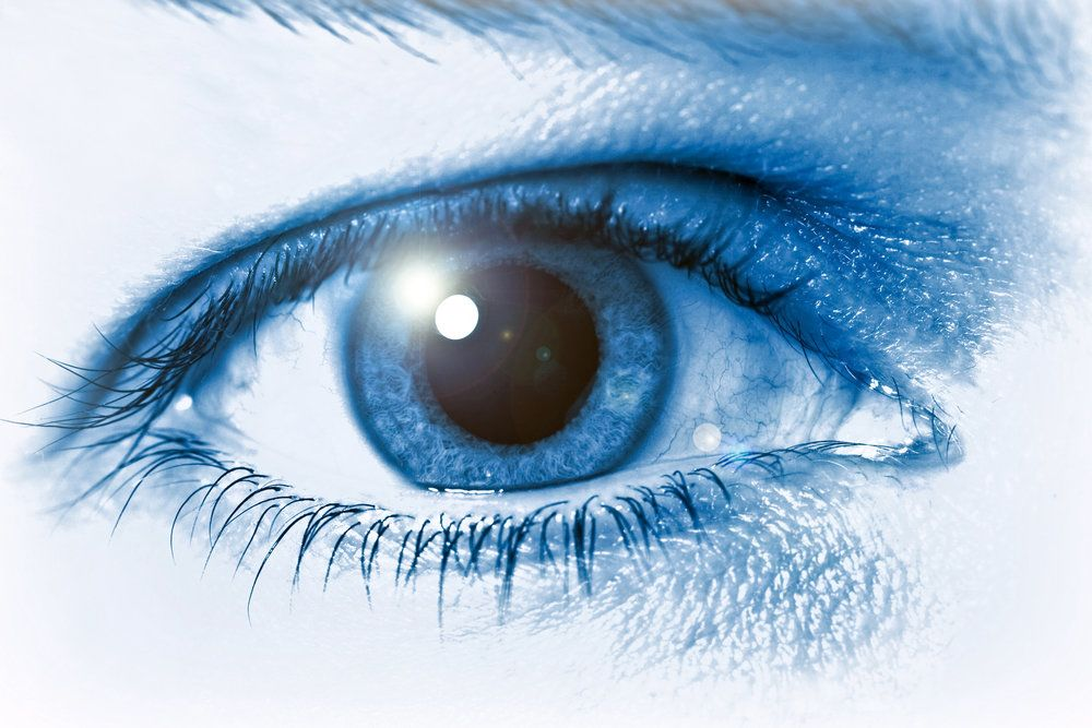 Close up blue and white image of eye