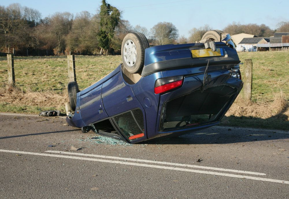 Car flipped upside-down
