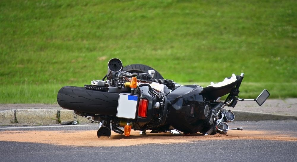 Motorcycle turned on its side