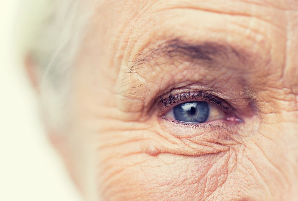 Close-up image of elderly woman's right eye