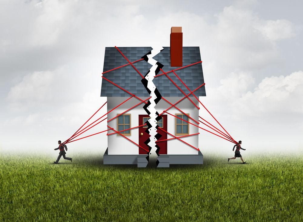 Illustration of man and woman running in opposite directions and tearing their house apart