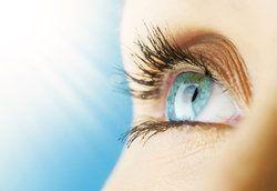 Woman's eye following laser vision correction surgery
