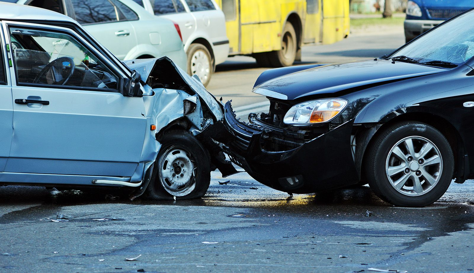 A front end collision involving head on vehicle impact