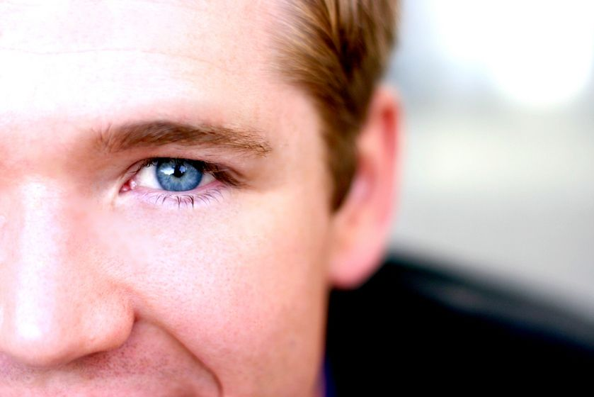Close up of man with blue eye