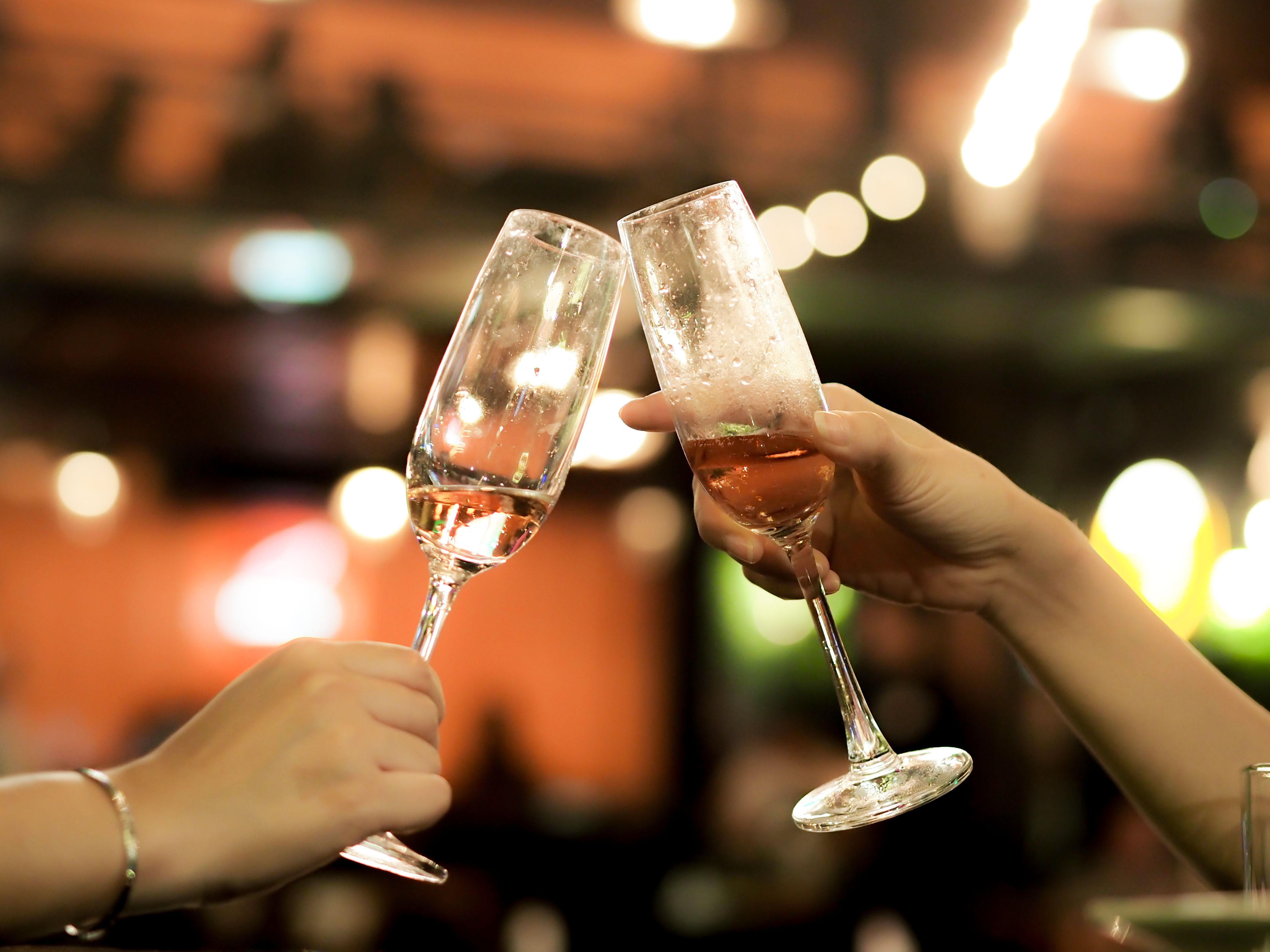 A champagne toast on New Year's Eve