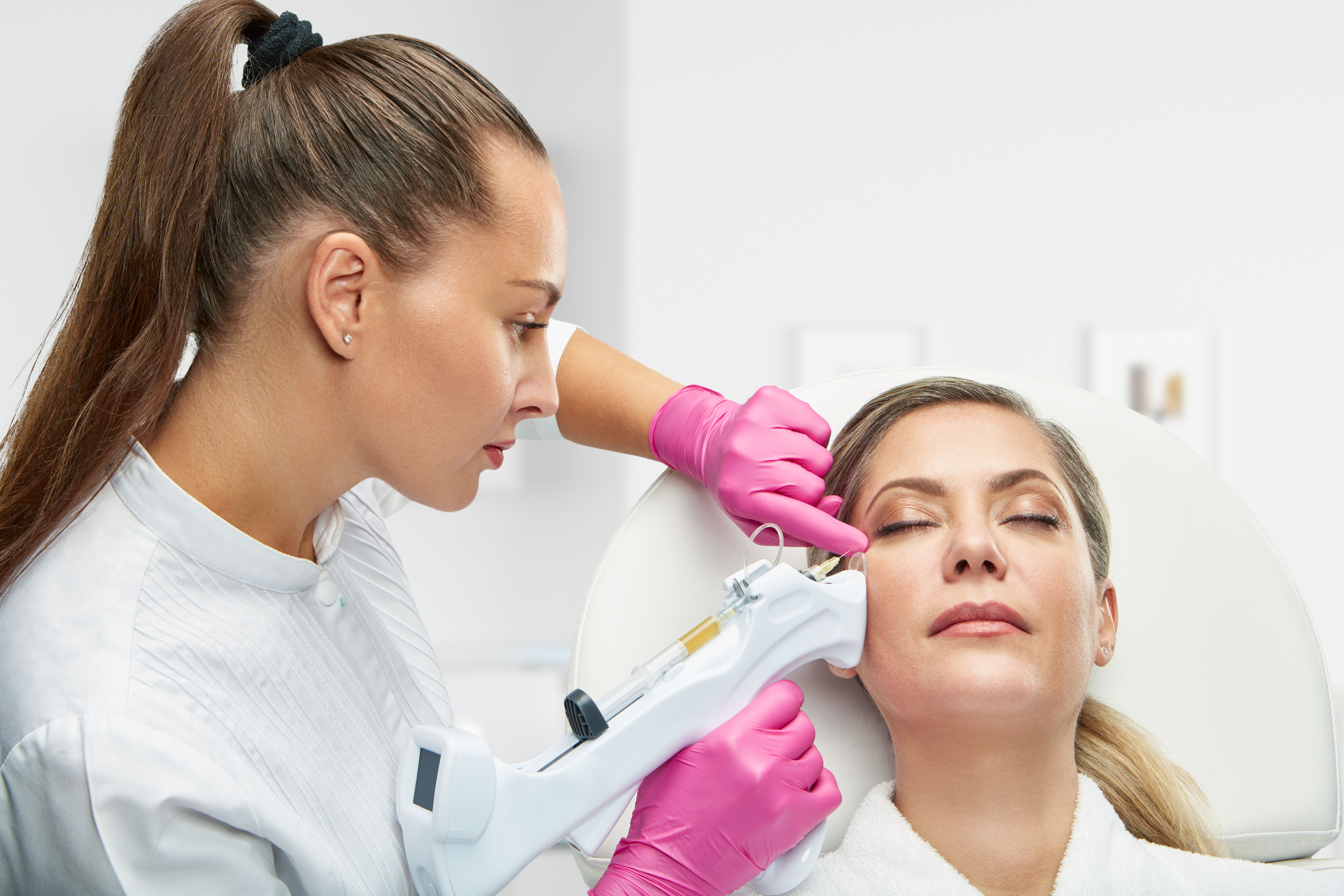 A woman undergoing PRP therapy