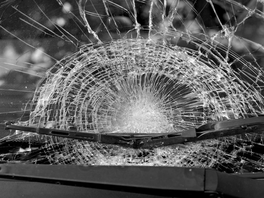 A broken windshield